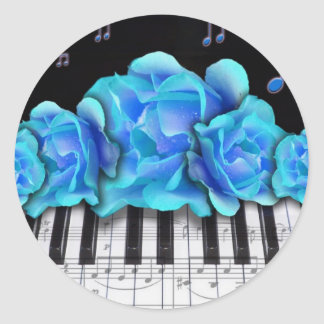 Blue Roses Piano Keyboard and Music Notes Classic Round Sticker