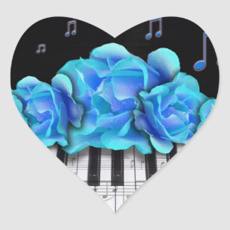 Blue Roses Piano Keyboard and Music Notes Heart Sticker
