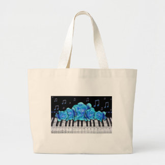 Blue Roses Piano Keyboard and Music Notes Large Tote Bag