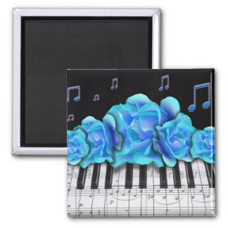 Blue Roses Piano Keyboard and Music Notes Magnet