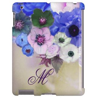 BLUE ROSES, PINK WHITE ANEMONE FLOWERS MONOGRAM