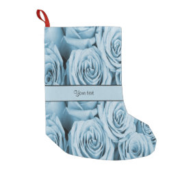 Blue Roses Small Christmas Stocking