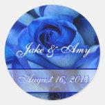 Blue Roses Sticker-save the date-customize Classic Round Sticker
