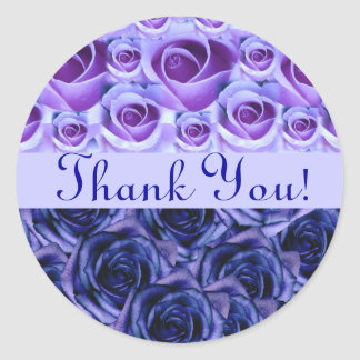 Blue Roses Thank You Wedding Sticker