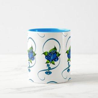 Blue Roses Two-Tone Mug