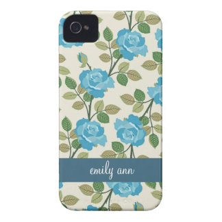 Blue Roses Vines Pattern iPhone4 Case