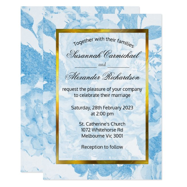 Blue Roses Watercolor Floral Wedding Invitation
