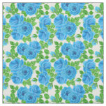 Blue roses watercolor seamless pattern fabric