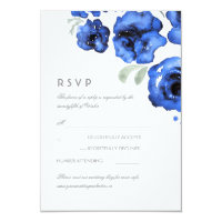 Blue Roses Watercolor Wedding RSVP Card