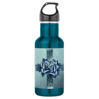 Blue Roses Wrapped Water Bottle