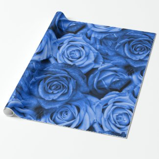 Blue Roses Wrapping Paper