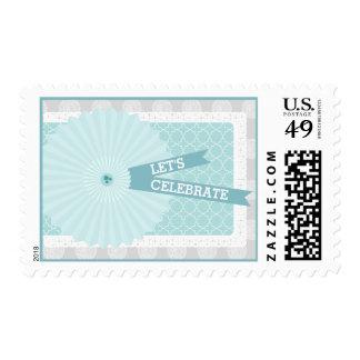 Blue Rosette Let's Celebrate Postage Stamps