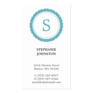 Blue rosette monogram elegant personal calling Double-Sided standard business cards (Pack of 100)