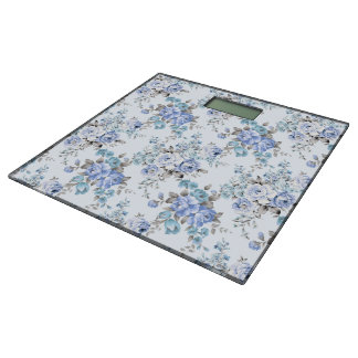 Blue Rosy Flower Pattern Bathroom Scale