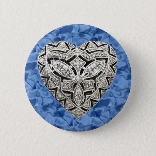 Blue Round Elegant Designer Heart Button