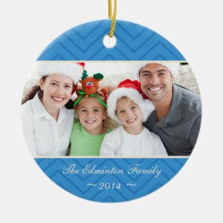 Blue Round Family Custom Photo Christmas Ornament