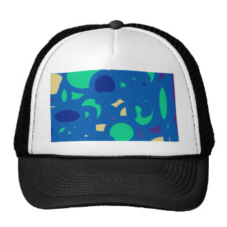 blue round happy go lucky trucker hat