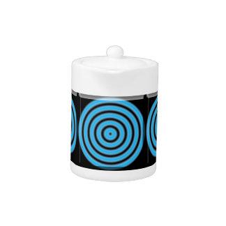 Blue Round Image Teapot