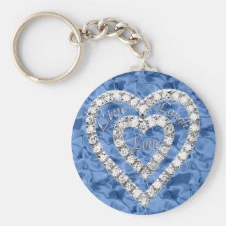 Blue Round Live Laugh Love Diamond Heart Keychain