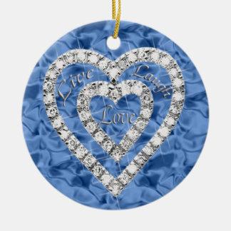Blue Round Live Laugh Love Diamond Heart Ornament