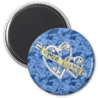 Blue Round True Love Joined Hearts Magnet