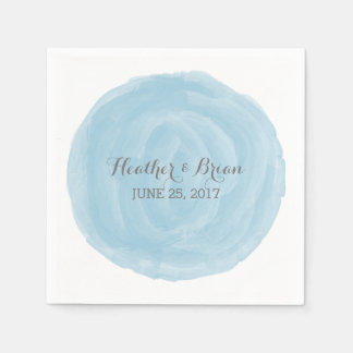 Blue Round Watercolor Paper Napkins