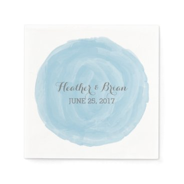 trendythings Blue Round Watercolor Paper Napkins