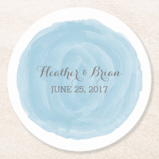 Blue Round Watercolor Wedding Paper Coasters Round Paper Coaster