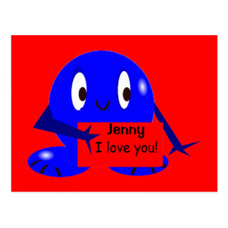 Blue Roundie I love You Card
