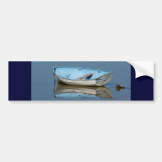 Blue rowing boat bumper sticker