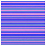 [ Thumbnail: Blue, Royal Blue, and Violet Lined Pattern Fabric ]