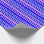 [ Thumbnail: Blue, Royal Blue, and Violet Lined Pattern Wrapping Paper ]