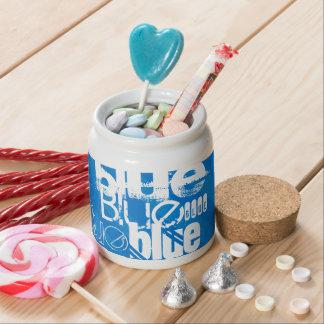 Blue; Royal Blue Stripes Candy Dish