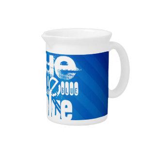 Blue; Royal Blue Stripes Drink Pitcher