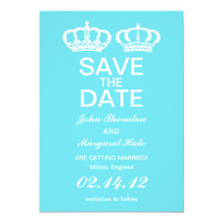 Blue  Royal Couple Save the Date 5x7 Paper Invitation Card