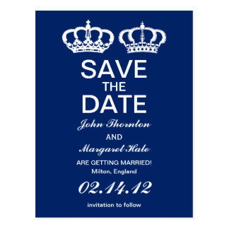 Blue Royal Couple Save the Date Postcard