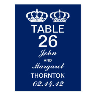 Blue Royal Couple Table Numbers Postcard