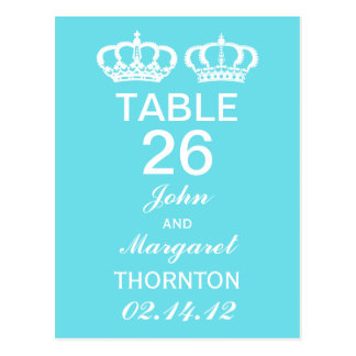 Blue Royal Couple Table Numbers Post Card