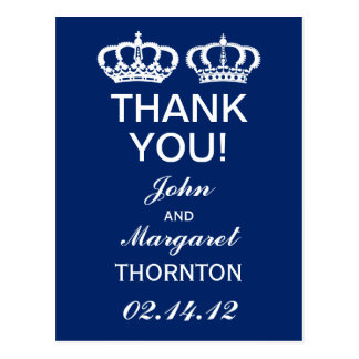 Blue Royal Couple Thank You Postcard