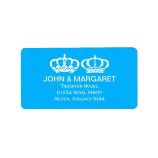 Blue Royal Couple Wedding Personalized Address Label