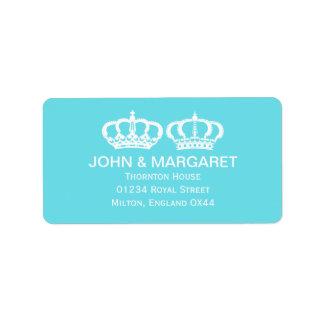 Blue Royal Couple Wedding Label