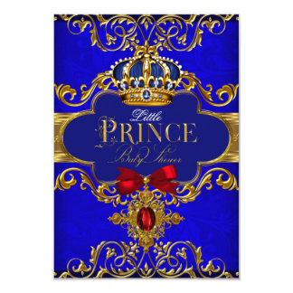 Blue Royal Crown Little Prince Baby Shower 3.5x5 Paper Invitation Card
