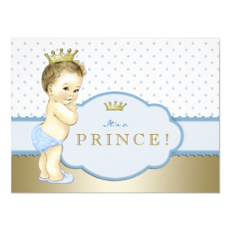 Blue Royal Prince Baby Shower Card