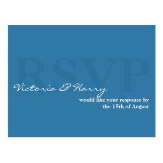 Blue RSVP simple wedding response card