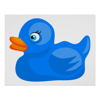 Blue Rubber Duck Poster