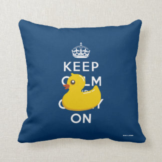 Blue Rubber Ducky Keep Calm and Carry On Pillow