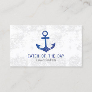 Sea food business cards templates zazzle blue rubber stamped anchor nautical themed business card reheart Gallery