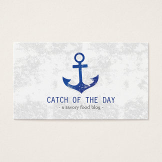 Blue Rubber-Stamped Anchor Nautical Themed Business Card