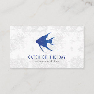 Sea food business cards templates zazzle blue rubber stamped fish nautical themed business card reheart Gallery