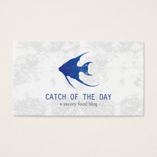 Blue Rubber-Stamped Fish Nautical Themed Business Card
